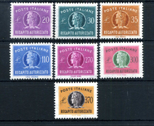 1955-90 REP. IT. REC AUTORIZZATO N.12/18 SERIE COMPLETA MNH ** - 6. 1946-.. Repubblica