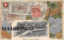 SUISSE Carte Fantaisie ( En Relief: Billets De Banque Et Pièces De Monnaie+une Vue De Genève) Expédiée De Genève En 1908 - Svizzera