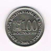 &   BOLIVIA  100  BOLIVARES  2001 - Bolivia