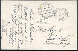 1916 Serbia Belgrad Postcard. K.D. Feldpost Postatation No 25 - Zurich Switzerland - Serbia