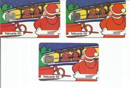 3 Télécartes PERE NOEL VOEUX SNCF 1994 50 U SO5 SC5 SC7 - 12/94 Utilisées ( N° 511 511A 511B ) - Noel