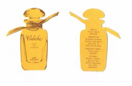 Cartes Parfumées Carte  CALÈCHE  De HERMES RÉPLIQUE FLACON TRACE DE PLIURE SUR LES CARTES - Modern (from 1961)