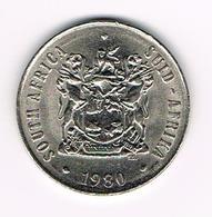 &   ZUID AFRIKA  50 CENT  1980  BILINGUAL  LEGEND - Afrique Du Sud