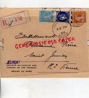59- JEUMONT- 87 SAINT JUNIEN- SNCF-SOCIETE NATIONALE CHEMINS DE FER-REGION NORD-PIERRE PERUCAUD MEGISSERIE-1938 - Marcophilie (Lettres)