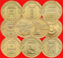 Best Offer! Full Set 10 Pcs. Russian Coins 10 Rubles 2014 Crimea & Sevastopol - Russie