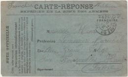 Carte Postale Militaire REPONSE / 1914 / FM Franchise / Expédiée De La Zone Des Armées - 1914-18