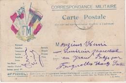 Carte Postale Franchise Militaire / Correspondance Militaire / Ecusson FM / 4 Drapeaux Alliés - 1914-18