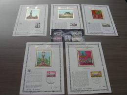 """BELG.1974 1718 1719 1720 1721 & 1722 FDC Soie/gold Cards N°269/400 Plus Serie Timbres** """"Emission Historique"""" (Fleurus) - FDC"""