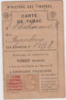 CARTE INDIVIDUELLE DE TABAC CHABERNAUD DENTISTE A BRIZAMBOURG 17 CHARENTE MARITIME - Historical Documents