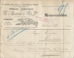 Bordeaux   1893 - Pub  Ets Auriac & Fils Primeurs Commestibles Ecrevisses - France