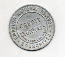 Timbre Monnaie. Crédit Lyonnais. Emprunt National 6% 1920. Fond Rouge. - Monetary / Of Necessity