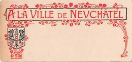 """Carton Avec Inscription """"A La Ville De Neuchâtel"""" Et écusson (~16 X 8 Cm) - Old Paper"""