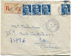 AIN De CHAMPAGNE EN VALMORAY  Env. Recom. De 1947 Avec Dateur A 4 Et Gandon Avec Pont - Marcophilie (Lettres)