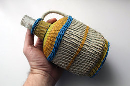 Vintage Colorful Wire Hand Woven Glass Bottle Jug Decanter Wine Brandy / 22 Cm - Other Bottles