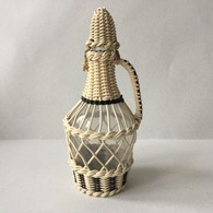Vintage Beige Wire Hand Woven Glass Bottle Wine Decanter Brandy / 25 Cm - Other Bottles