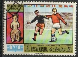 """PIA - ARABIA DEL SUD-EST : RAS AL KHAIMA - 1970 : Coppa Del Mondo Di Calcio """"Messico 70"""" - (Yv 104) - Arabia Saudita"""