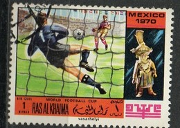 """PIA - ARABIA DEL SUD-EST : RAS AL KHAIMA - 1970 : Coppa Del Mondo Di Calcio """"Messico 70"""" - (Yv 104) - Saudi Arabia"""