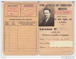 Au Plus Rapide Licence 1933 Union Nationale Fédérations Boulistes Boule Lyonnaise Boule Amicale Du Centre Tarare - Bowls - Pétanque