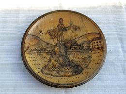 1950's Antique Souvenir Wooden Wall Plate, Hand Burned Wood, Opatija (Abbazia) Croatia / 18 Cm - Unclassified