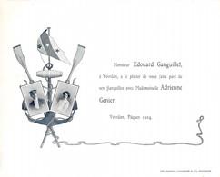 Yverdon Pâques 1904  Edouard Ganguillet, Faire Part De Fiançailles Avec Adrienne Genier - Marin, Ancre, Rame - Verloving