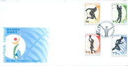 NORFOLK ISLAND - FDC - 28.8.2007 - SOUTH PACIFIC GAMES  - Yv 929-932 - Lot 17564 - Ile Norfolk