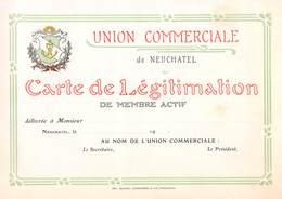 Union Commerciale De Neuchâtel Carte De Légitimation De Membre Actif, Vierge (Début XXème Siècle)  - Suisse - Titres De Transport