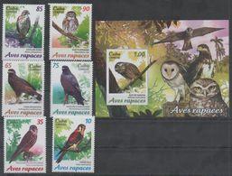 FAUNA, 2017, MNH, BIRDS, BIRDS OF PREY, OWLS, HAWKS, FALCONS, 6v+S/SHEET - Eagles & Birds Of Prey