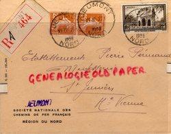 59- JEUMONT- NORD- ENVELOPPE SNCF 1939-SOCIETE NATIONALE CHEMINS DE FER- PIERRE PERUCAUD MEGISSSERIE SAINT JUNIEN - Marcophilie (Lettres)