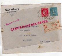 07- ANNONAY- ENVELOPPE RECOMMANDEE 034- 1939- PAUL DEAUX- PIERRE PERUCAUD MEGISSERIE SAINT JUNIEN - Marcophilie (Lettres)