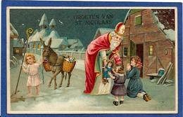 CPA Saint Nicolas Père Noël Santa Claus Angelot Circulé Gaufré Ane - Saint-Nicholas Day