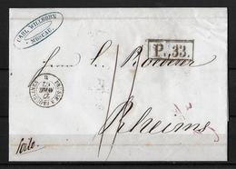 Russia-1862 Moscow Post Office 33 Railway Cover To France Postage Due Manus 11 - 1857-1916 Empire