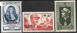 Algeria   1947 Sc#B51, 1948 #B54,  & 1950   Sc#B59  Charities MLH*     2016 Scott Value $6.35 - Algeria (1924-1962)