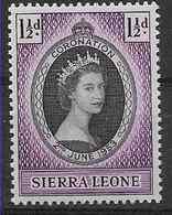 1953 SIERRA LEONE 180 ** Couronnement Elisabeth II - Sierra Leone (...-1960)