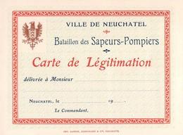 Ville De Neuchâtel - Bataillon Des Sapeurs-Pompiers - Carte De Légitimation - Vierge - Suisse - Old Paper