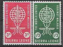 1962 SIERRA LEONE 211-12 ** Paludisme - Sierra Leone (1961-...)