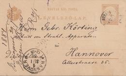 UNGARN 1884 - 2 F Ganzsache Auf Pk, Gel.v. Budapest > Hannover - Ungarn
