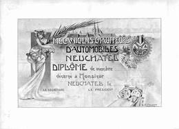 Diplôme De Mécanicien Chauffeur D'Automobile (entre 1900 Et 1910) - Neuchâtel - Vierge ( 30 X 22 Cm) - Old Paper