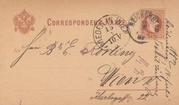 BÖHMEN 1882 - 2 Kreuzer Ganzsache Auf Pk Gel.v. Reichenberg > Wieden In Wien - Böhmen Und Mähren