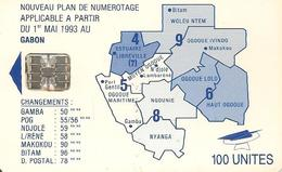 CARTE-PUCE-GABON-100U-SC7- CARTE-BLEU -PLAN NUMEROTAGE-V° SANS N°-TBE - Gabon