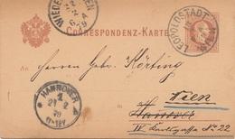 BÖHMEN 1879 - 2 Kreuzer Ganzsache Auf Pk Gel.v. Hannover > Leopoldstadt Wien > Wieden In Wien - Böhmen Und Mähren