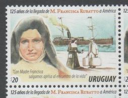 URUGUAY, 2017, MNH, ARRIVAL OF MADRE FRANCISCA RUBATO IN AMERICA, CHRISTIANITY, SHIPS ,1v - Christianity