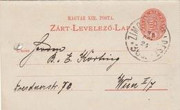 UNGARN 1895 - 5 F  Auf Kartenbrief Gel.v. Neusatz > Wien, Karte Gelocht - Ganzsachen