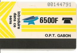 CARTE-GABON-MAGNETIQUE AUTELCA-6500F-JAUNE V° BLANC-TBE - Gabon