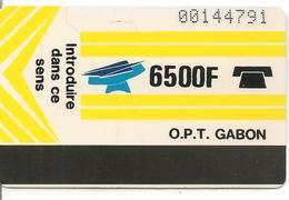 CARTE-GABON-MAGNETIQUE AUTELCA-6500F-JAUNE -R° Ecriture+Epaisse-V° BLANC-TBE - Gabun