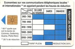 CARTE PUCE-BENIN-50U-GEM B-11/94-HORAIRES TARIFS-UTILISE-TBE - Benin