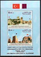 QATAR, 2018, MNH, JOINT ISSUE WITH TURKEY, FLAGS, FORTS, DIPLOMATIC RELATIONS, S/SHEET - Joint Issues