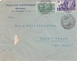 ITALIEN 1935 - 50 C + 1,25 L Espresso Auf Firmenbrief MILANO > CAMPO TURES - 1900-44 Victor Emmanuel III.