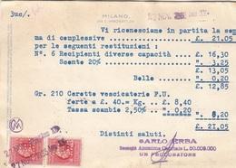 ITALIEN 1936 - 0,30 Stempel + 2xVentiCent Auf Pk Gel.v. Milano > Tures - 1900-44 Victor Emmanuel III.