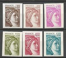 Non Dentelé Type SABINE N° 2118 à 2123 NEUF** LUXE SANS CHARNIERE / MNH - France