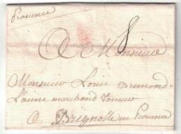 """1751 - LETTRE LAC De PARIS Avec MARQUE MANUSCRITE """" PROVENCE """" (ROUTAGE) Pour BRIGNOLES (VAR) LENAIN - 1701-1800: Précurseurs XVIII"""